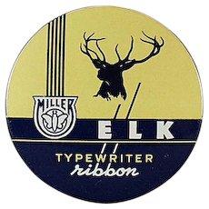 Vintage Miller Elk Typewriter Ribbon Tin