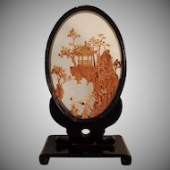Vintage Oriental Cork Carving with Lacquered Frame - Small Carved Cork Scene
