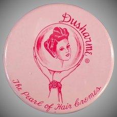 Vintage Milk Glass Hair Creme Jar - Purse Size Dusharme Jar