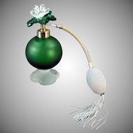 Vintage Irice Perfume Atomizer - Green Satin Glass - Jeweled Flower Cap 1950's