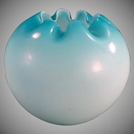 Vintage Rose Bowl - Large Blue Satin Glass Bowl Vase