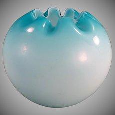 Vintage Rose Bowl - Large Blue Satin Glass Bowl Vase