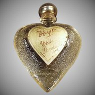 Vintage Perfume Bottle - White Shoulders Sample in Heart Bottle with Original Label