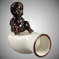 Vintage Occupied Japan Black Memorabilia - Black Baby on Bed Pan - O.J.