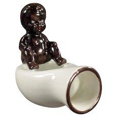 Vintage Occupied Japan Black Memorabilia - Black Baby on Bed Pan - O.J.