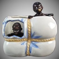 Vintage Black Memorabilia Porcelain Whimsey - Black Babies in Cotton Bale