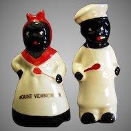 Vintage Mammy & Chef Salt & Pepper Set - Virginia Souvenir - Black Memorabilia