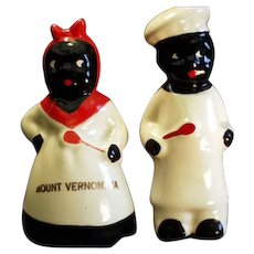 Vintage Mammy & Chef Salt & Pepper Set - Virginia Souvenir - Black Memorabilia