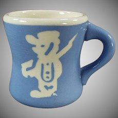 Child's Vintage Blue Cameoware Milk Mug - Harker Pottery Co.