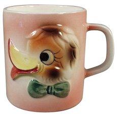 Child's Vintage Milk Mug - Funny Duck Face Design - 1960's Japan