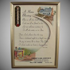 Vintage Home Blessing Prayer Motto with1957 Calendar