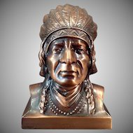Vintage Figural Coin Bank -  Indian Chief Bust - Western Montana Advertising