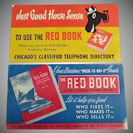 Two Vintage Ink Blotters - Chicago Red Book Phone Directory Advertising
