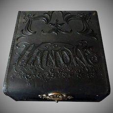 Vintage Black Celluloid Hankies Dresser Box – Victorian Art Nouveau Handkes Box