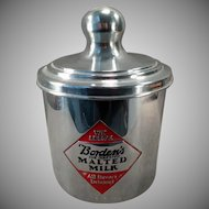 Vintage Borden's Malt Canister with Advertising on Three Sides