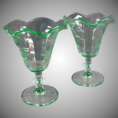 Pair of Vintage Stemmed Tulip Sundae Ice Cream Dishes - Paden City Green