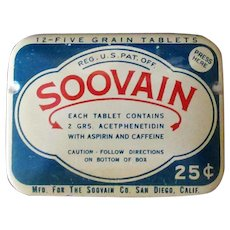Vintage Medical Tin – Soovain Aspirin Medicine Tin
