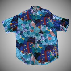 Colorful Vintage Casual Shirt – Unionbay Rayon - Made in India – Large