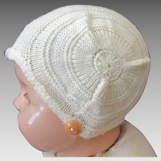Vintage Baby Bonnet - Cream Colored Knit with Chin Strap