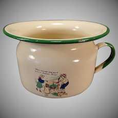 Vintage Child's Enamelware Chamber Pot - Little Johnny Stout Nursery Rhyme