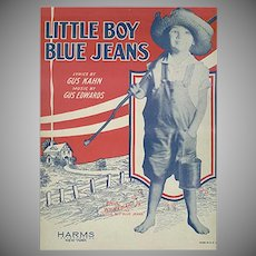 Vintage Sheet Music - 1928 Little Boy Blue Jeans by Gus Kahn