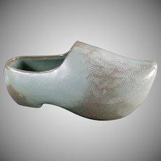 Vintage Frankoma Pottery - Dutch Shoe Planter in Blue Woodland Moss Glaze