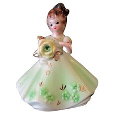 Vintage Josef Original Figure - August Birthday Girl – Peridot Birthstone