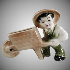 Vintage Ohio Pottery Planter - Farmer Boy with Wheelbarrow ca 1950