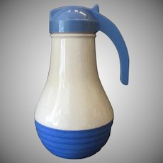 Vintage Batter Jug by Universal Potteries - Large Blue & White Pitcher