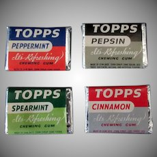 Vintage Topps Chewing Gum Tabs - Four Different Flavors – 1940's