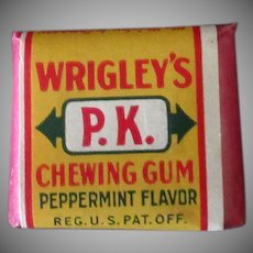 Vintage Wrigley's P.K. Chewing Gum - 2 Piece Tab Package