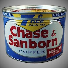 Vintage Key Wind Coffee Tin - 1 Pound Chase & Sanborn Coffee Can