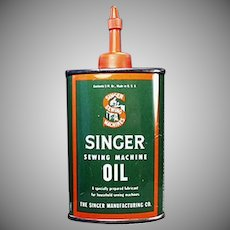 Vintage Singer Sewing Machine Oil Tin - Advertising Oiler