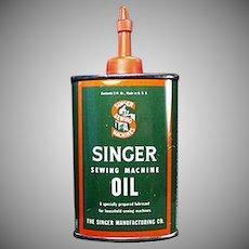 Vintage Singer Sewing Machine Oil Tin - Advertising Oiler