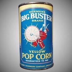 Vintage Popcorn Tin - Unopened Big Buster Pop Corn Tin
