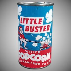 Vintage Popcorn Tin - Unopened Little Buster Pop Corn Tin