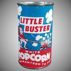Vintage Popcorn Tin - Unopened Little Buster Pop Corn Tin