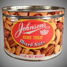 Vintage Johnson's Home Treat Mixed Nuts Tin - Key Wind Tin