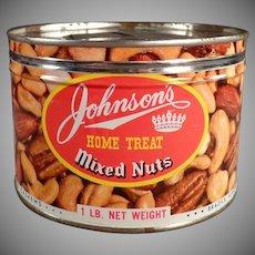 Vintage Johnson's Home Treat Mixed Nuts Tin - Key Wind Tin