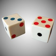 Vintage Cream Bakelite Dice with Colored Pips - One Pair