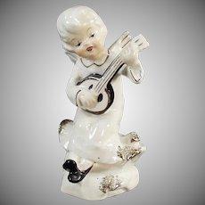 Vintage Porcelain Angel Playing Banjo-Like Instrument