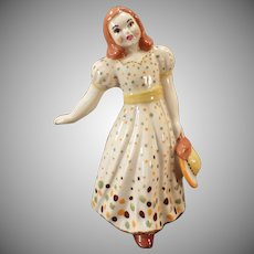 Vintage California Pottery - Young Girl in Polka Dot Dress