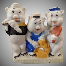 Vintage Disney Toothbrush Holder – Painted Bisque Three Little Pigs