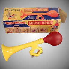 Vintage Bicycle Accessory - Colorful Plastic Goose Horn with Original Box
