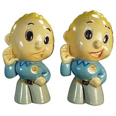 Vintage Lennie Lennox Figural Salt and Pepper Advertising Set ca. 1950