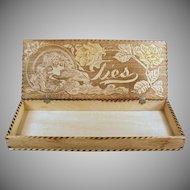 Vintage Pyrography - Wood Burned Art Nouveau Design Tie Box