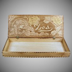 Vintage Pyrography - Wood Burned Art Nouveau Design Tie Box