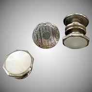 Vintage Snap Link Cuff Links - Mother of Pearl and Chased Silver Tone