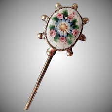 Vintage  Micro Mosaic Stickpin - Floral Design in 800 Silver Mount