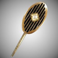 Vintage Stickpin with Enamel Stripes and Faux Pearl